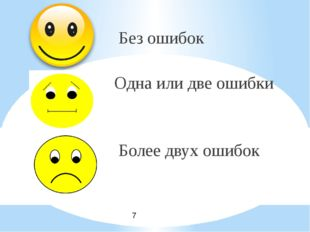 Без ошибок Одна или две ошибки Более двух ошибок