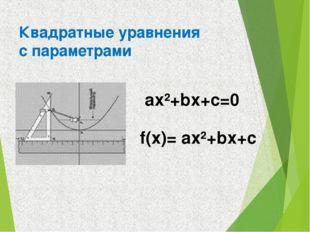 Квадратные уравнения с параметрами ах²+bх+с=0 f(x)= ах²+bх+с