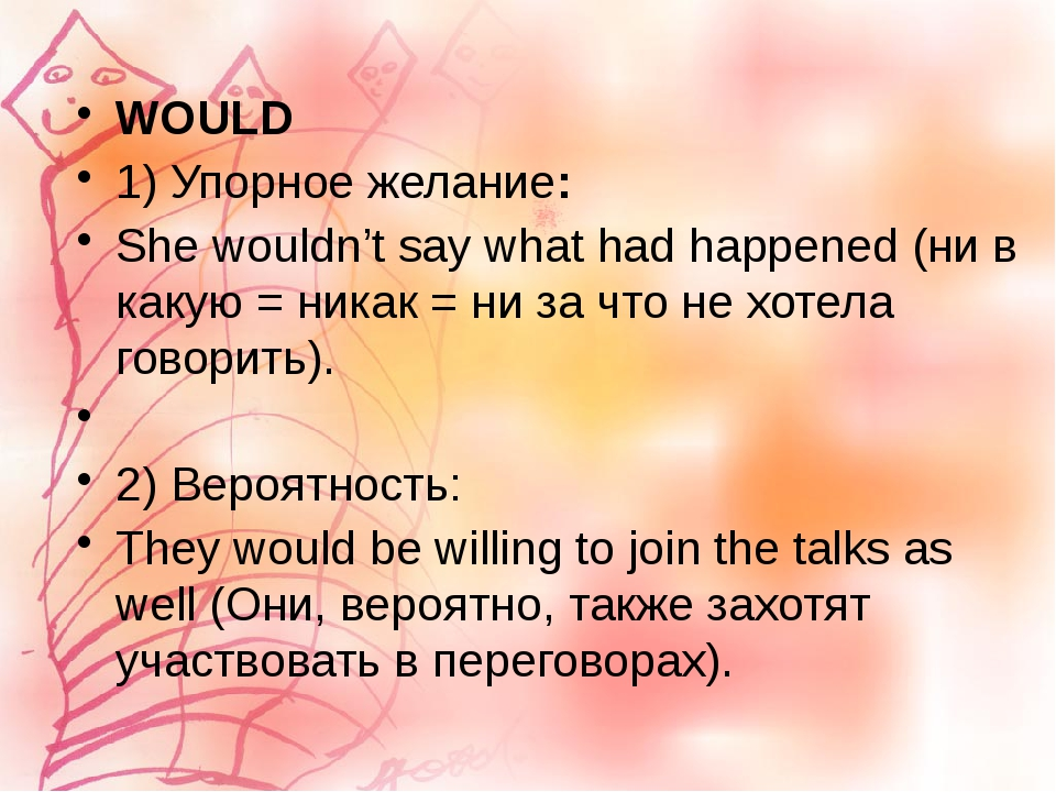 WOULD 1) Упорное желание: She wouldn't say what had happened (ни в какую = ни...