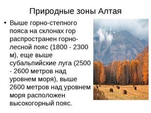 Природные зоны Алтая Выше горно-степного пояса на склонах гор распространен г