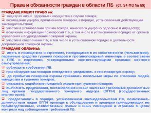 Права и обязанности граждан в области ПБ (ст. 34 ФЗ № 69) ГРАЖДАНЕ ИМЕЮТ ПРА