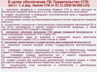 В целях обеспечения ПБ Правительство СПб: (из ст. 7, в ред. Закона СПб от 21.