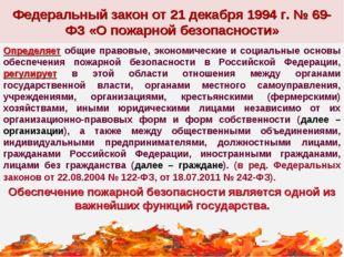 Федеральный закон от 21 декабря 1994 г. № 69-ФЗ «О пожарной безопасности» Опр