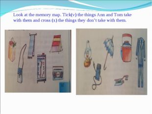 Look at the memory map. Tick(v) the things Ann and Tom take with them and cro