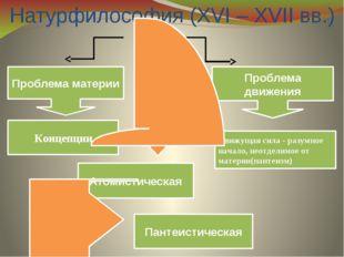 Натурфилософия (XVI – XVII вв.) Проблема движения Проблема материи Движущая с