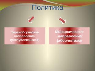 Политика Тираноборческое направление (республиканское) Монархическое направле