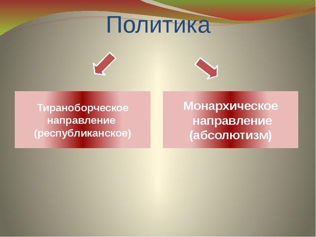 Политика Тираноборческое направление (республиканское) Монархическое направле...
