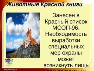 Животные Красной книги Занесен в Красный список МСОП-96. Необходимость вырабо