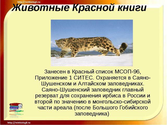 Животные Красной книги Занесен в Красный список МСОП-96, Приложение 1 СИТЕС....