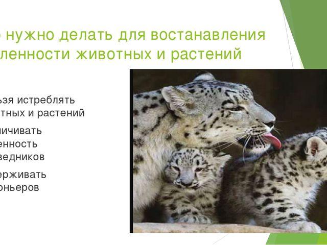 Что нужно делать для востанавления численности животных и растений ·Нельзя ис...