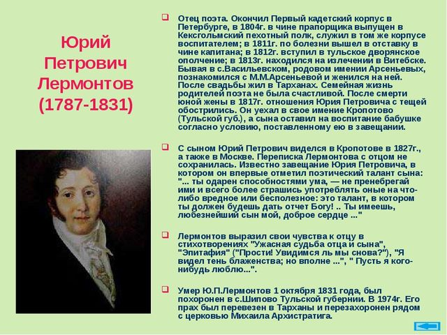 Юрий Петрович Лермонтов (1787-1831) Отец поэта. Окончил Первый кадетский корп...