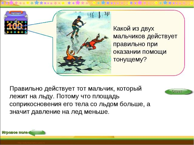 Игровое поле Правильно действует тот мальчик, который лежит на льду. Потому ч...