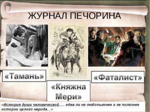 ЖУРНАЛ ПЕЧОРИНА «История души человеческой….. едва ли не любопытнее и не поле