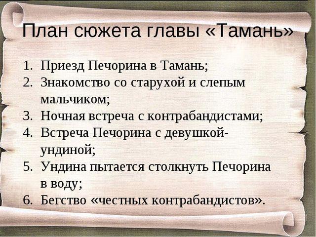 План сюжета главы «Тамань» Приезд Печорина в Тамань; Знакомство со старухой и...