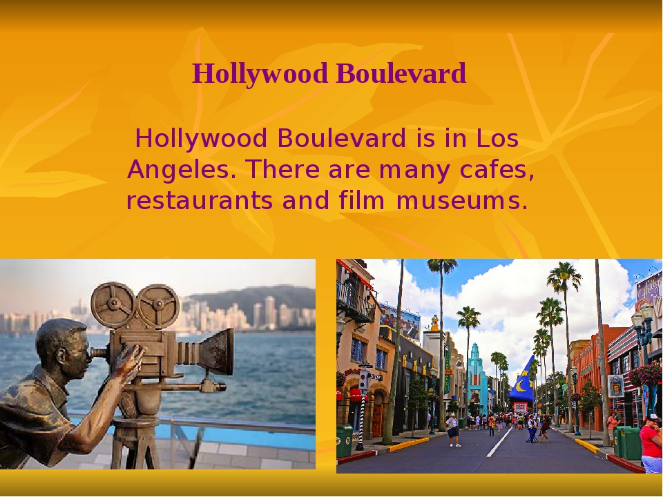 Hollywood Boulevard is in Los Angeles. There are many cafes, restaurants and...