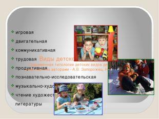 Виды детской деятельности Современная типология детских видов деятельности п