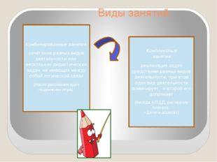 Виды занятий Комбинированные занятия: сочетание разных видов деятельности ил