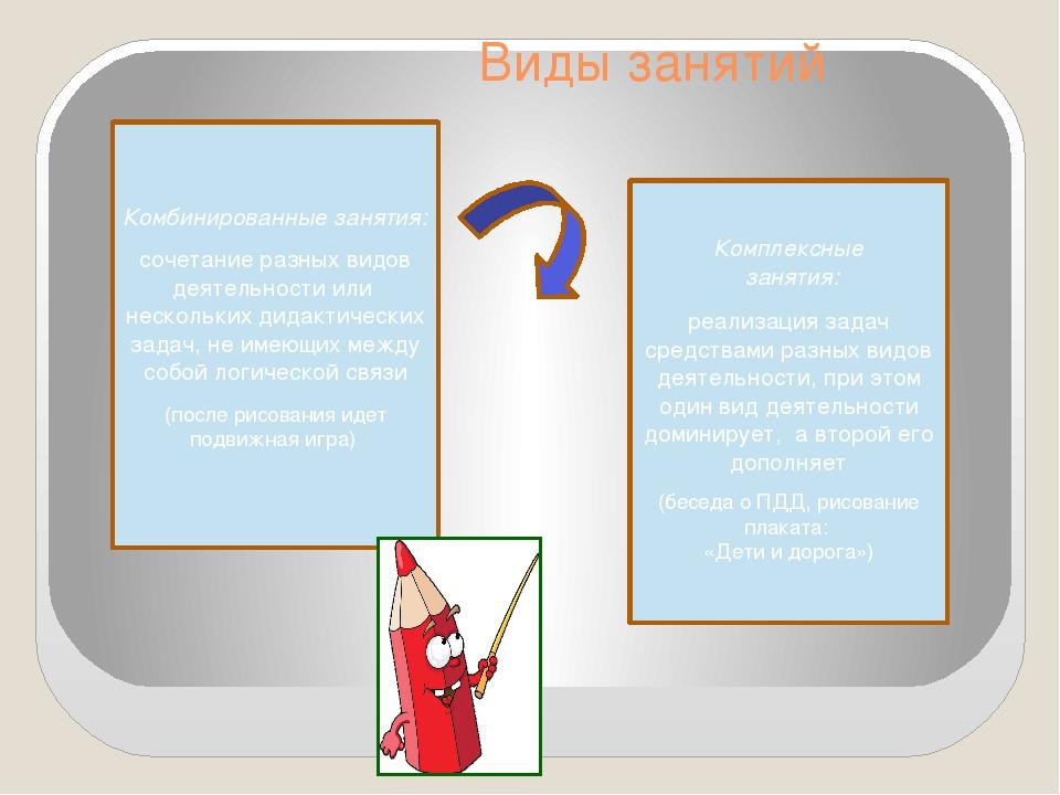 Виды занятий Комбинированные занятия: сочетание разных видов деятельности ил...