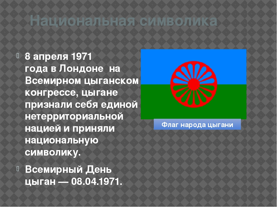 Национальная символика 8 апреля1971 годавЛондоне на Всемирном цыганском к...
