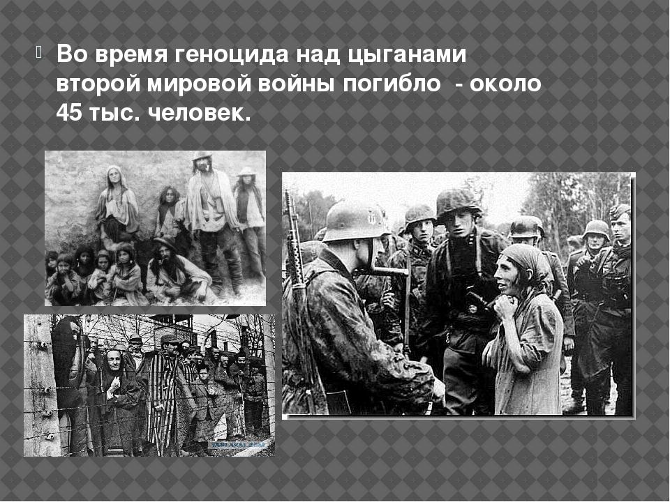 Во время геноцида над цыганами второй мировой войны погибло - около 45 тыс. ч...