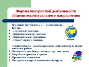 Формы внеурочной деятельности общеинтеллектуального направления Проектная де