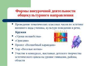 Формы внеурочной деятельности общекультурного направления Проведение тематич