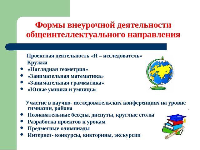 Формы внеурочной деятельности общеинтеллектуального направления Проектная де...