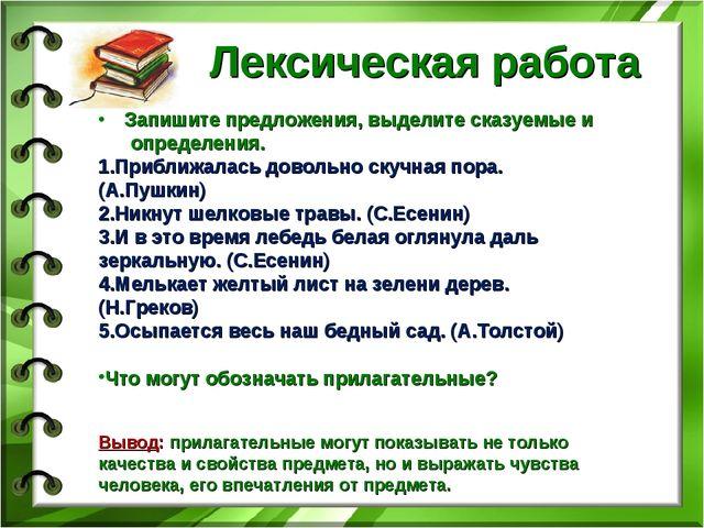 Лексическая работа Запишите предложения, выделите сказуемые и определения. П...