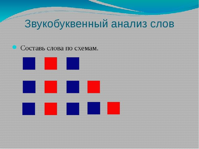 Звукобуквенный анализ слов Составь слова по схемам.