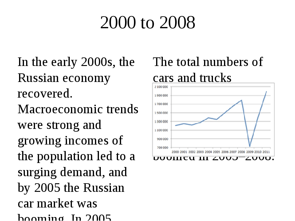 2000 to 2008 In the early 2000s, the Russian economy recovered. Macroeconomic...