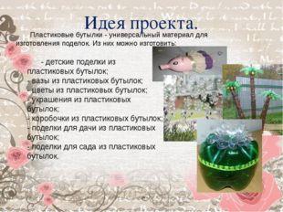 Идея проекта. Пластиковые бутылки - универсальный материал для изготовления п