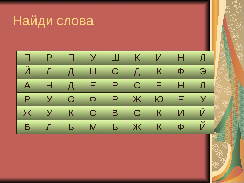 Найди слова ПРПУШКИНЛ ЙЛДЦСДКФЭ АНДЕРСЕНЛ РУОФРЖ...