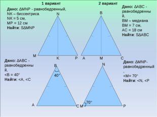40° 70° A B C Дано: ∆MNP - равнобедренный, NК – биссектриса NК = 5 см, MP =