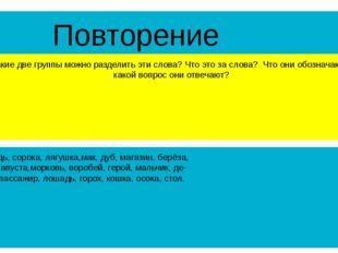 Повторение На какие две группы можно разделить эти слова? Что это за слова? Ч