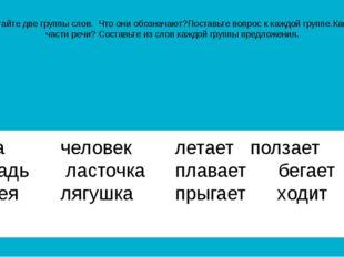 Прочитайте две группы слов. Что они обозначают?Поставьте вопрос к каждой груп