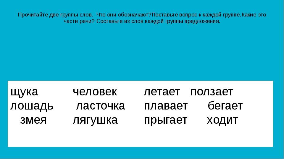 Прочитайте две группы слов. Что они обозначают?Поставьте вопрос к каждой груп...