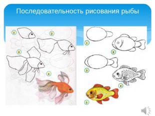 Последовательность рисования рыбы