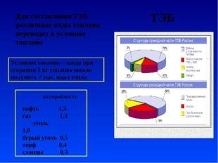Для составления ТЭБ различные виды топлива переводят в условное топливо Услов