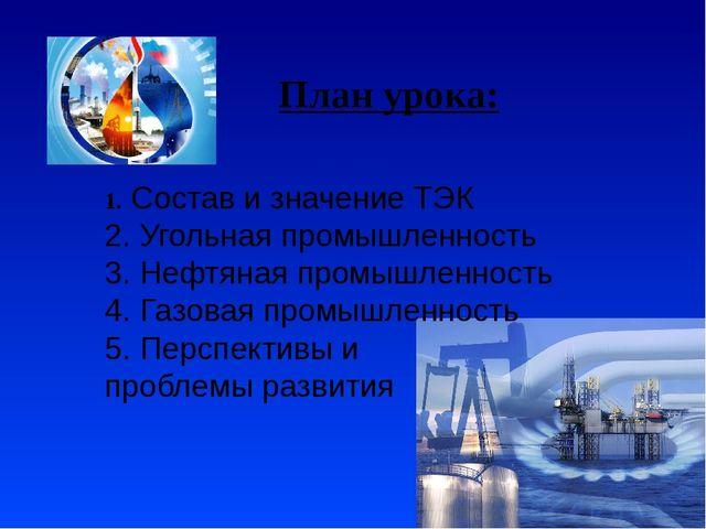 План урока: 1. Состав и значение ТЭК 2. Угольная промышленность 3. Нефтяная п...