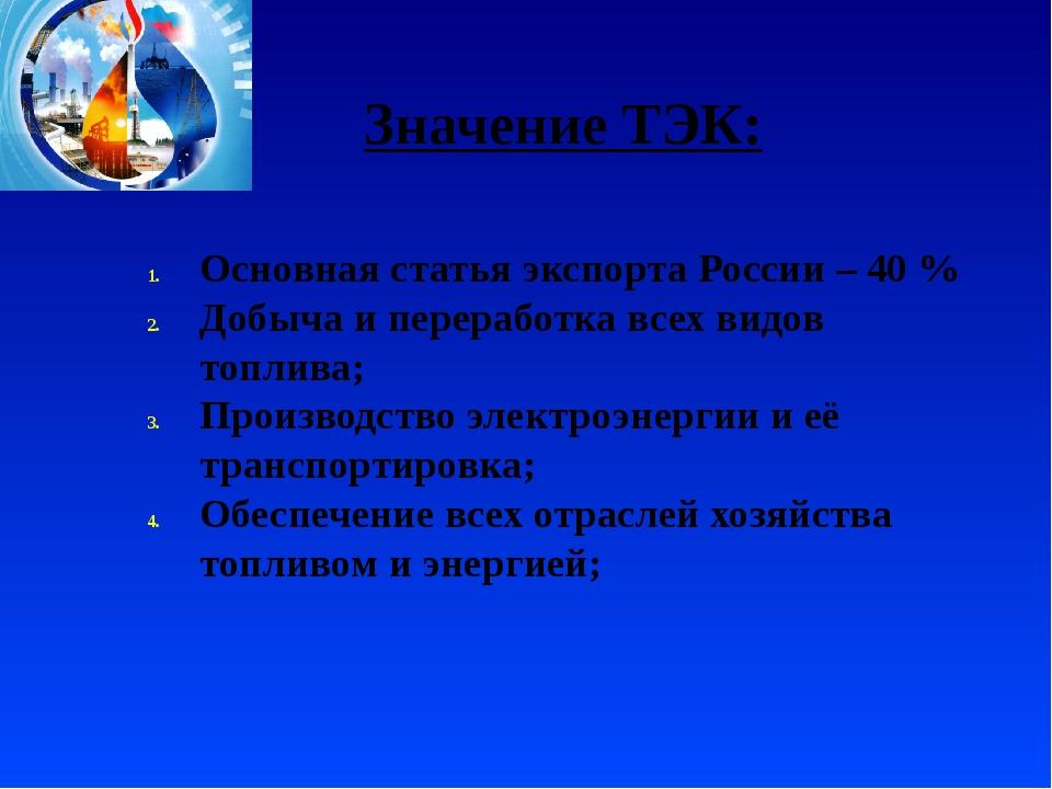 Значение ТЭК: Основная статья экспорта России – 40 % Добыча и переработка все...