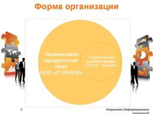 Форма организации 2 Факультет Информационных технологий Независимое юридическ