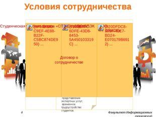 Условия сотрудничества 4 Факультет Информационных технологий организация курс