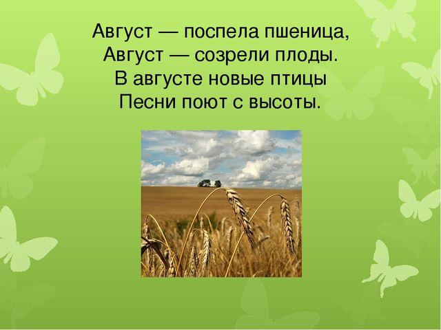 Август — поспела пшеница, Август — созрели плоды. В августе новые птицы Песни...