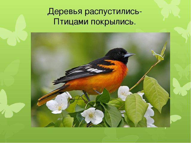 Деревья распустились- Птицами покрылись.