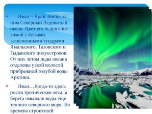 Ямал – Край Земли, за ним Северный Ледовитый океан. Цвет его льдов слит зимо
