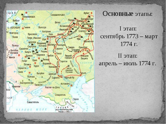 Основные этапы: I этап: сентябрь 1773 – март 1774 г. II этап: апрель – июль 1...