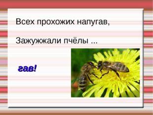 Всех прохожих напугав, Зажужжали пчёлы ... гав!