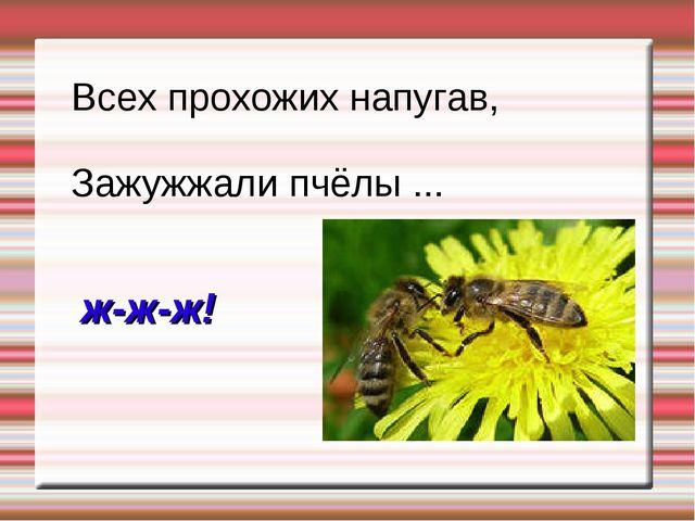 Всех прохожих напугав, Зажужжали пчёлы ... ж-ж-ж!