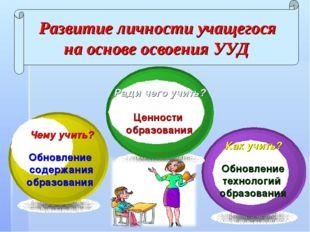 Чему учить? Обновление содержания образования Ради чего учить? Ценности образ