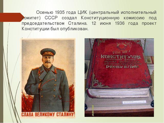 Осенью 1935 года ЦИК (центральный исполнительный комитет) СССР создал Консти...